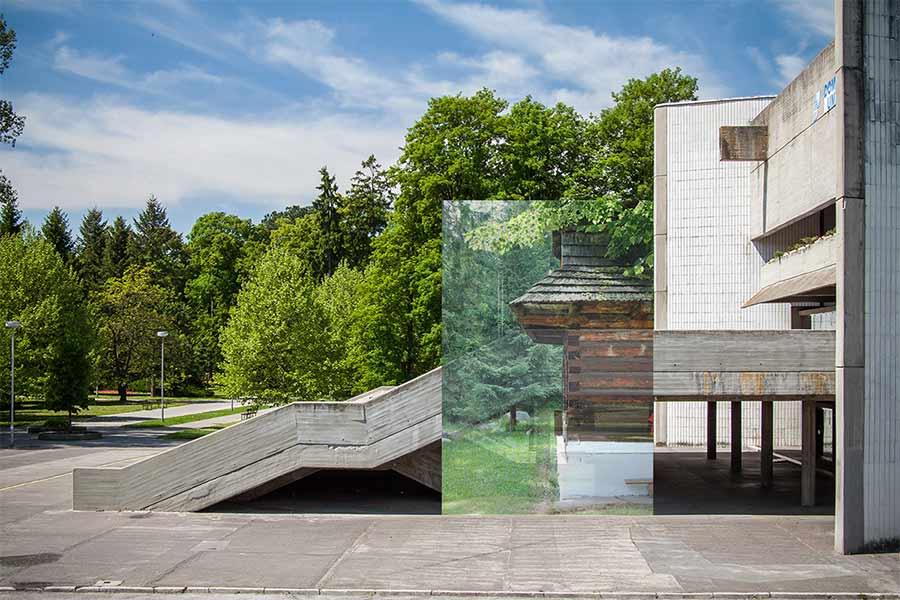 Dom umenia v Piešťanoch (foto: Peter Kuzmin, www.photoplus.sk) a drevenica v Brestovej - Zuberec (foto: autor)